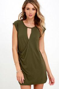 Fluidity Olive Green Wrap Dress