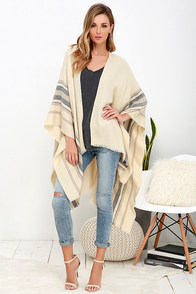 Gentle Fawn Kirin Beige and Blue Striped Poncho at Lulus.com!
