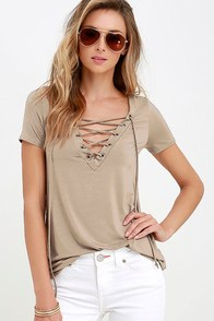 image Enjoy the Ride Taupe Lace-Up Top