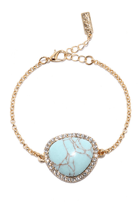 Ready Ore Not Gold and Turquoise Bracelet at Lulus.com!