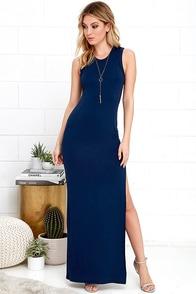 image Shield and Sword Navy Blue Sleeveless Maxi Dress