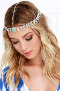 Throne It Gold and Turquoise Rhinestone Headpiece at Lulus.com!
