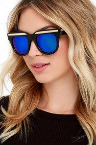 Private Club Black and Blue Mirrored Sunglasses