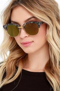 Sightseer Black Marble and Purple Mirrored Sunglasses at Lulus.com!