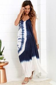 image Caribbean Cruise Ivory and Navy Blue Tie-Dye Maxi Dress
