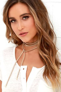 image Ride or Tie Taupe Wrap Necklace