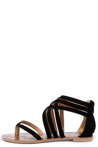 Image Cairo Queen Black Suede Strappy Thong Sandals
