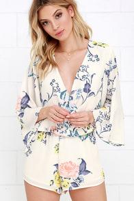 Lovely Cream Romper Floral Print Romper Long Sleeve