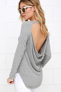 Mischief Managed Heather Grey Long Sleeve Backless Top at Lulus.com!