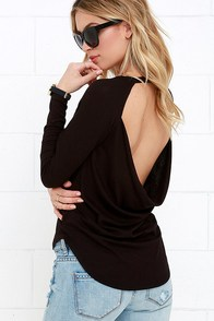 Mischief Managed Black Long Sleeve Backless Top at Lulus.com!