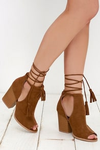 Cut and Fly Rust Suede Lace-Up Ankle Booties