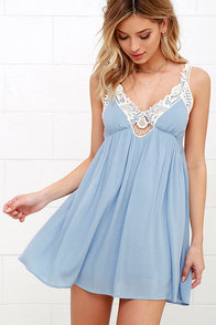 Lovely Periwinkle Blue Dress Babydoll Dress Lace Dress