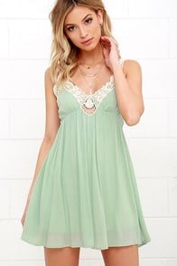 Sweet Talk Mint Green Lace Dress at Lulus.com!