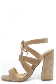 Up the Block Nude Suede Lace-Up Heels