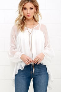 River Ripples Ivory Long Sleeve Top at Lulus.com!