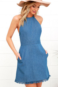 Sunny Spot Blue Chambray Halter Dress at Lulus.com!