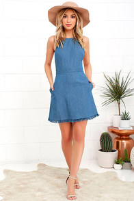 Sunny Spot Blue Chambray Halter Dress