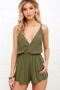 image Second Look Olive Green Romper