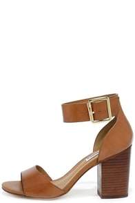 Steve Madden Estoria Cognac Leather Ankle Strap Heels