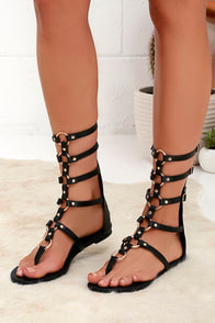 High Spirits Black Gladiator Sandals