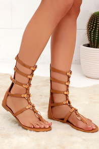 High Spirits Camel Gladiator Sandals at Lulus.com!