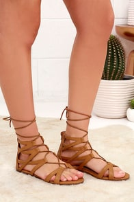 River Valley Camel Lace-Up Flat Sandals at Lulus.com!