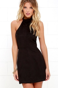 Saloon Swoon Black Halter Dress
