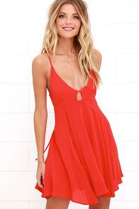 Samana Bay Coral Red Dress at Lulus.com!