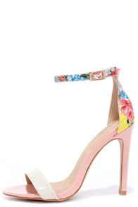Sugar Dumpling Pink Floral Ankle Strap Heels at Lulus.com!