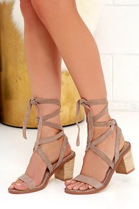 Chinese Laundry Calvary Grey Suede Sandals Lace Up