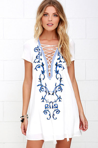 Down In Kokomo Ivory Embroidered Shift Dress at Lulus.com!
