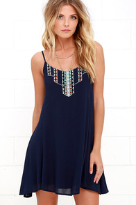 image This Morning Navy Blue Embroidered Dress