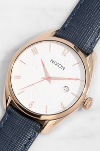 Nixon Bullet Rose Gold and Navy Blue Leather Watch