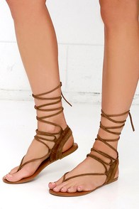 image Steve Madden Walkitt Chestnut Suede Leather Lace-Up Sandals