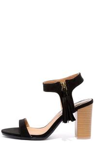 image Tassel Time Black Suede High Heel Sandals