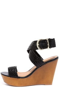 Cruise Control Black Woven Platform Wedges