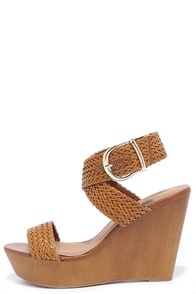 Cruise Control Tan Woven Platform Wedges