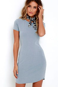 To A Tee Washed Blue Dress at Lulus.com!