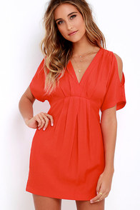 Game Changer Coral Red Dress at Lulus.com!