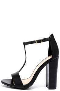 There and Everywhere Black T-Strap High Heel Sandals