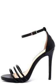 Date with Destiny Black Ankle Strap Heels