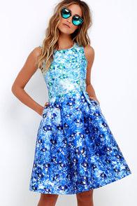 image Here Comes the Sun Blue Floral Print Midi Dress