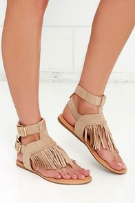 image Rare Find Natural Suede Fringe Sandals