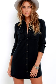 Obey Jetset Washed Black Shirt Dress at Lulus.com!