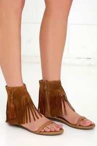 image Very Volatile Lex Tan Suede Leather Fringe Sandals