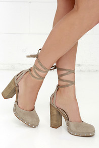 image Seychelles Drift Taupe Suede Leather Lace-up Heels