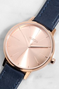 Nixon Kensington Leather Rose Gold and Navy Watch