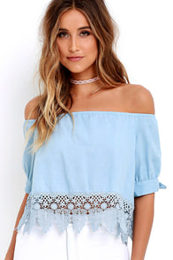 image No Place Like Home Blue Chambray Lace Crop Top