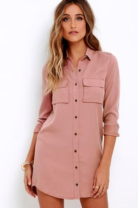 Obey Jetset Washed Blush Shirt Dress at Lulus.com!