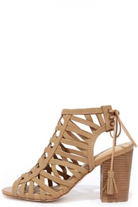 image Sbicca Geovana Tan Leather High Heel Sandals